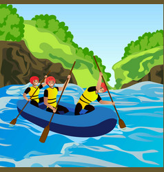 rafting concept background cartoon style vector image