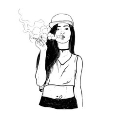 Rap smoking girl vector