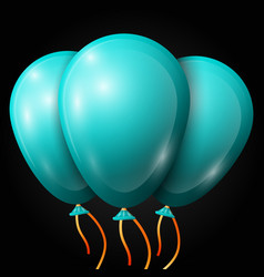 Realistic blue balloons with ribbon isolated vector