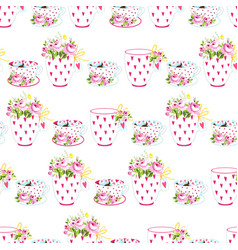 romantic seamless pattern with flowers and cups on vector image