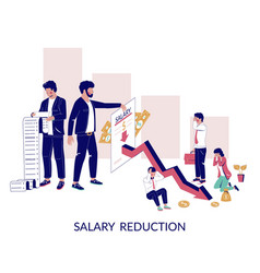 Salary reduction concept for web banner vector