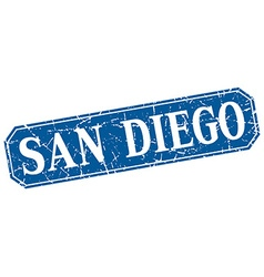 San Diego blue square grunge retro style sign vector