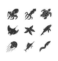 Sea animals glyph icons set swimming octopus vector