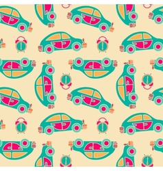 Seamless pattern of buses and alarms vector image