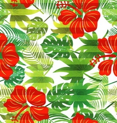seamless pattern tropical leaves hibiscus vector image