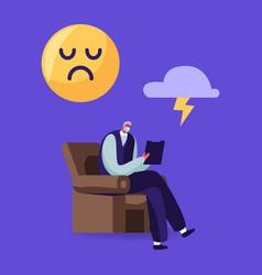 senior psychiatrist character sit in armchair vector image