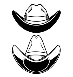 set cowboy hat isolated on white background vector image
