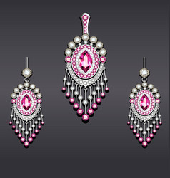 Set earrings and pendant silver with gemstones vector