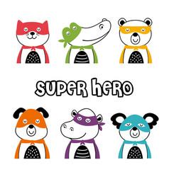 set isolated superhero animals part 1 vector image