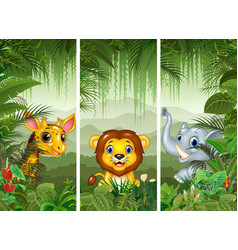 Set of three african animals vector
