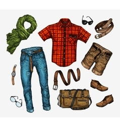 Set of trendy men s clothes Outfit man vector