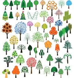 set trees vector image