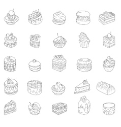 Set with different kinds of dessert Contour vector