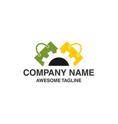shopping bag with gear logo logo template ready vector image