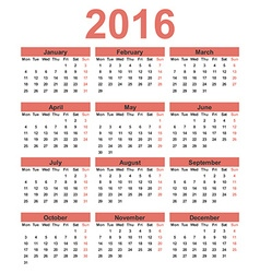 Simple calendar 2016 Week starts on Monday vector