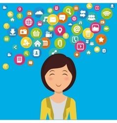 Social media woman cartoon vector image