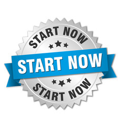 Start now round isolated silver badge vector
