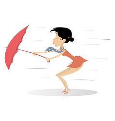 strong wind rain and woman with umbrella vector image