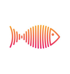 stylized gradient fish is lines logo vector image