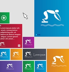 Summer sports diving icon sign buttons Modern vector