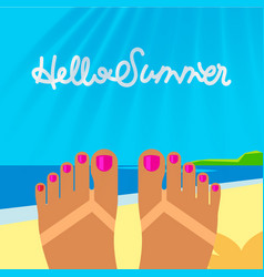Summer vacation template with tanned woman s feet vector