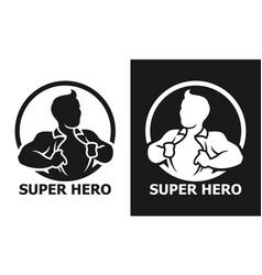 Super hero man opening his shirt icon vector