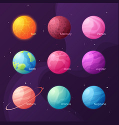 the solar system colorful cartoon set with sun vector image