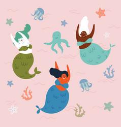 Three mermaids and octopus in the waterunderwater vector