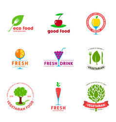 vegetarian cafe logo design set vector image