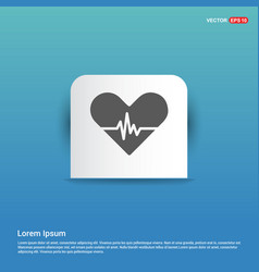 web heart icon - blue sticker button vector image