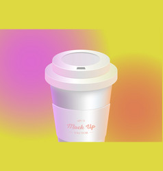 White coffee cup mockup on colored background vector