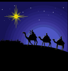 Wise men go to worship christ vector