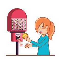 Woman using dispenser machine electronic vector