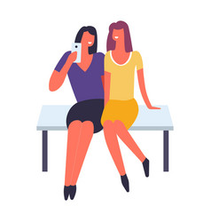 Women having fun and taking selfie together vector
