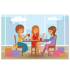 Women in cafe - with city vector image