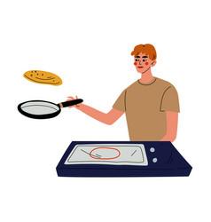 Young man baking pancakes guy throwing a pancake vector
