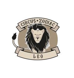 Zodiac circus emblem leo sign circus lion star vector