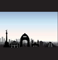 mexico city skyline cityscape landmark silhouette vector image vector image