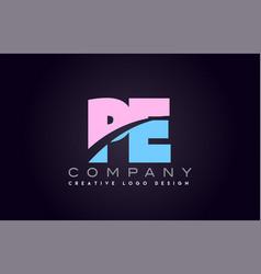 pe alphabet letter join joined letter logo design vector image