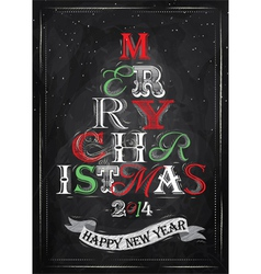 Poster tree christmas happy chalk color vector
