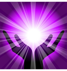 purple background with hands vector image vector image