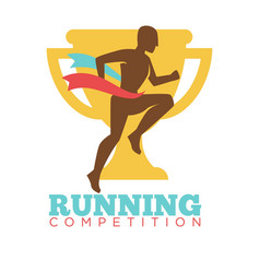 running competition man on background of golden vector image