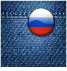 Russian Federation Flag Badge on Denim Fabric Text vector image