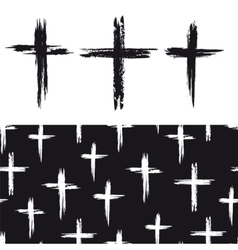 Seamless pattern with grunge crosses vector image vector image