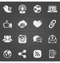 Social network icons on black set vector image vector image