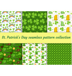 st patricks day seamless pattern collection with vector image