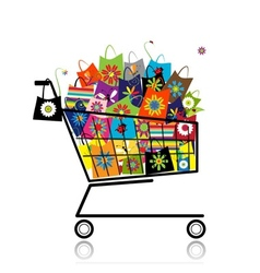 Supermarket cart with shopping bags for your vector image vector image