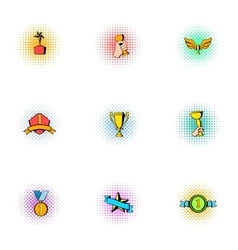 Championship icons set pop-art style vector image vector image