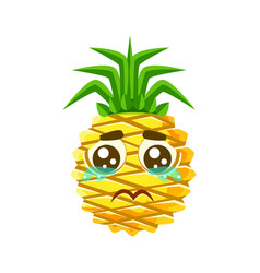 crying pineapple emoticon cute cartoon emoji vector image