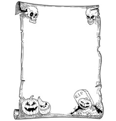 halloween frame scroll with pumpkins vector image